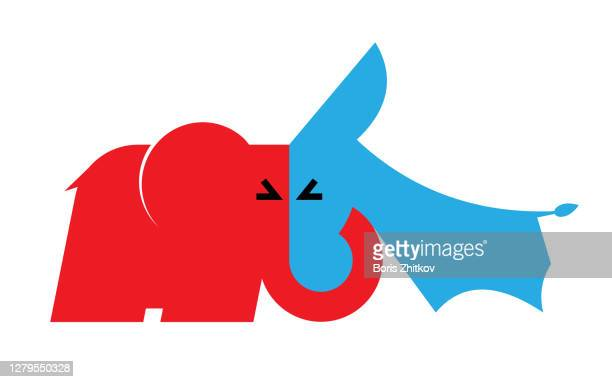 republican elephant vs democratic donkey - united states presidential election stock pictures, royalty-free photos & images