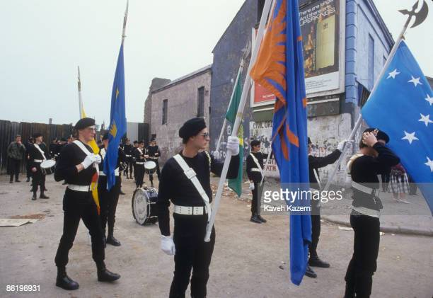 Republican fife and drum band in paramilitary uniform on a march in the Falls Road, west Belfast, Northern Ireland, 9th August 1986.