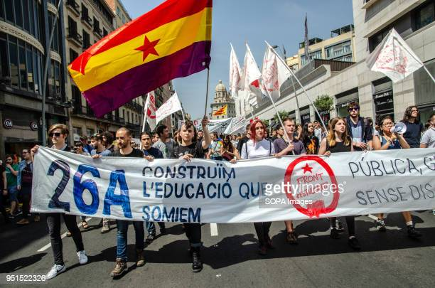 A republican flag seen during the demonstration as demonstrators holds a large banner Thousands of Catalan university students have demonstrated in...