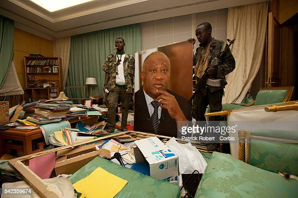 Republican Forces loyal to elected President Alassane Ouattara loot the residence of Laurent Gbagbo arrested earlier on April 11 Soldiers loyal to...