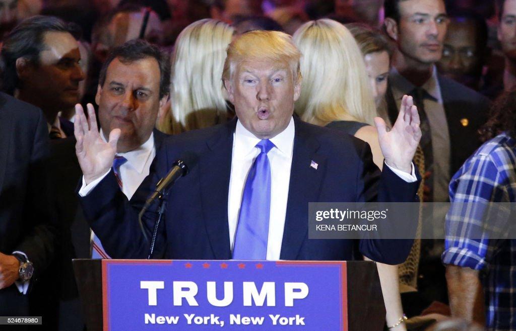 republican frontrunner donald trump speaks at trump tower in new