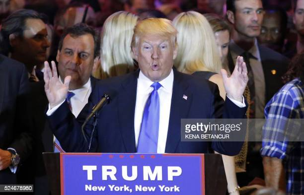 Republican frontrunner Donald Trump speaks at Trump Tower in New York on April 262016 after winning primaries in Pennsylvania Maryland Connecticut...
