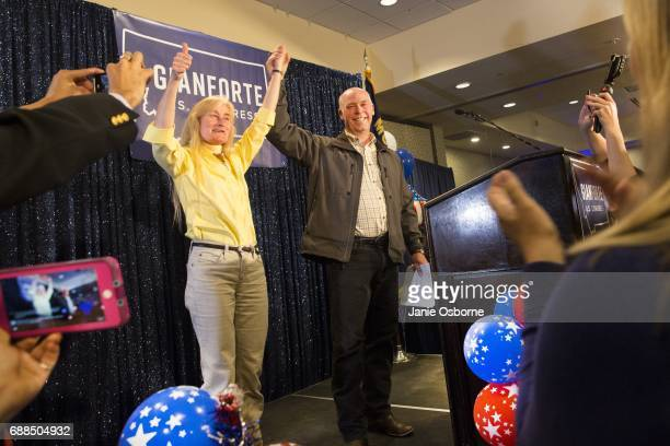 Republican Greg Gianforte celebrates with supporters after being declared the winner at a election night party for Montana's special House election...