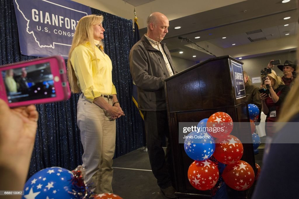 Republican Greg Gianforte speaks to supporters after being declared the winner at a election night party for Montana's special House election against Democrat Rob Quist at the Hilton Garden Inn on May 25, 2017 in Bozeman, Montana. Gianforte won one day after being charged for assaulting a reporter. The House seat was left open when Montana House Representative Ryan Zinke was appointed Secretary of Interior by President Trump.