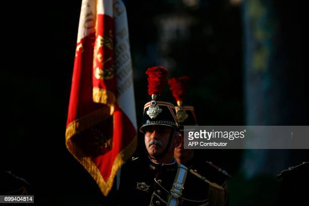 Republican Guard is pictured during the official handover ceremony of the French defence minister at the Hotel de Brienne in Paris on June 21 2017 /...