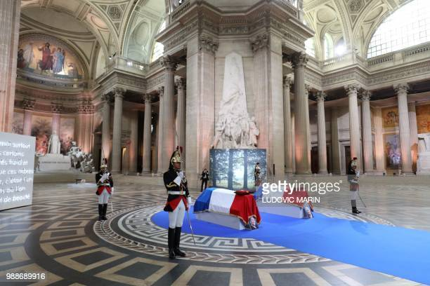 Republican Guards stand around the coffins of former French politician and Holocaust survivor Simone Veil and her husband Antoine Veil in the...