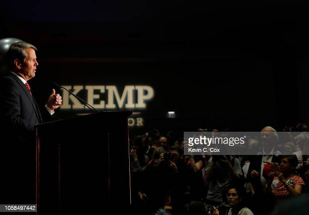 Republican gubernatorial candidate Brian Kemp attends the Election Night event at the Classic Center on November 6 2018 in Athens Georgia Kemp is in...