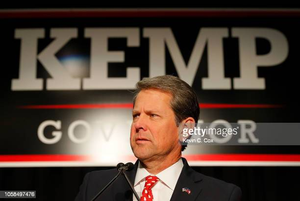 Republican gubernatorial candidate Brian Kemp attends the Election Night event at the Classic Center on November 6, 2018 in Athens, Georgia. Kemp is...