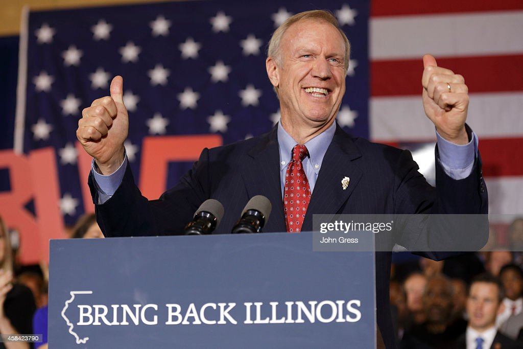 Gubernatorial Candidate Bruce Rauner Attends Election Night Gathering In Chicago : News Photo