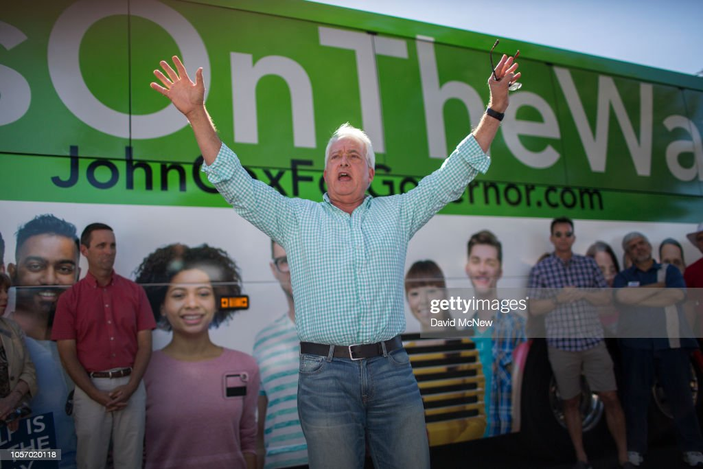 GOP Gubernatorial Candidate John Cox Attends Rally With House Republican Candidate Steve Knight In Santa Clarita : News Photo