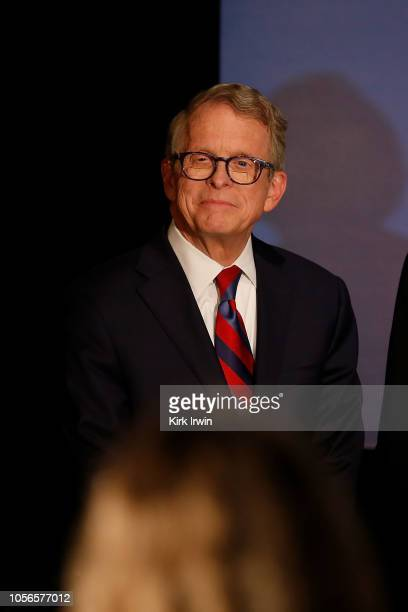 Republican Gubernatorial Candidate Ohio Attorney General Mike DeWine listens as Governor John Kasich gives a speech endorsing DeWine ahead of...