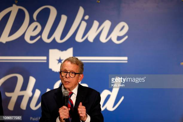 Republican Gubernatorial Candidate Ohio Attorney General Mike DeWine speaks to a group of supporters during a campaign event at the Boat House at...