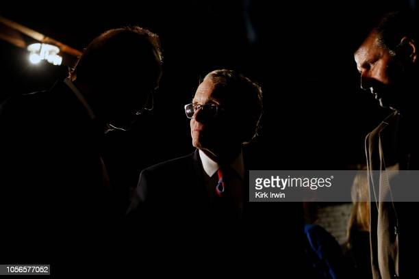 Republican Gubernatorial Candidate Ohio Attorney General Mike DeWine speaks with supporters at the end of a campaign event at the Boat House at...