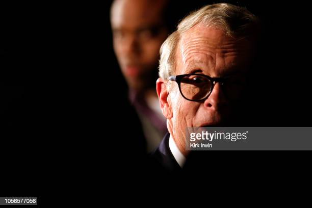 Republican Gubernatorial Candidate Ohio Attorney General Mike DeWine meets with a supporter following a campaign event at the Boat House at...