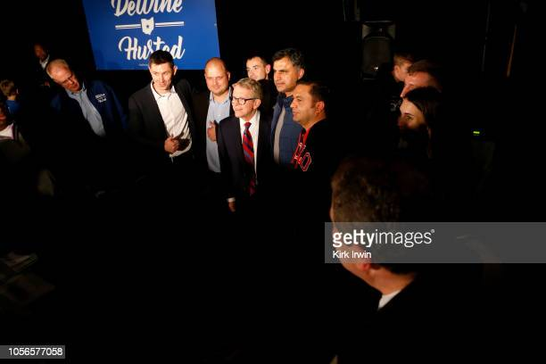 Republican Gubernatorial Candidate Ohio Attorney General Mike DeWine poses for a picture with supporters following a campaign event at the Boat House...