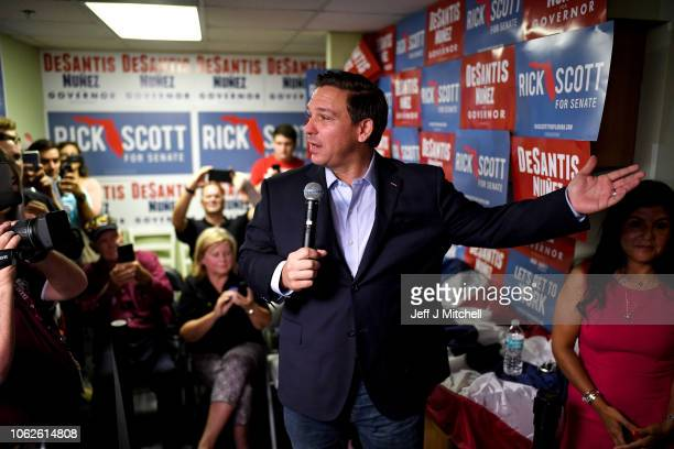 Republican gubernatorial candidate Ron DeSantis attends a campaign event at Hillsborough Victory Office on November 2 2018 in Tampa Florida DeSantis...