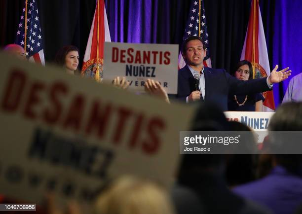 Republican gubernatorial candidate Ron DeSantis speaks during a campaign rally at the Palm Beach County Convention Center on October 6 2018 in West...