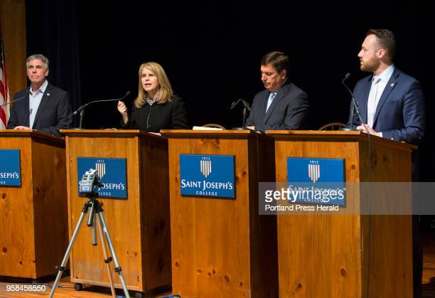 Republican gubernatorial candidates speak at a primary forum at St Joseph's College on Wednesday April 25 2018 Candidates left to right are Shawn...