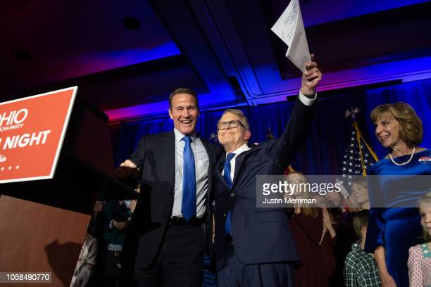 Republican Gubernatorialelect Ohio Attorney General Mike DeWine and Lieutenant Gubernatorialelect Jon Husted take the stage during their victory...