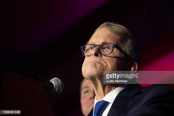 Republican Gubernatorialelect Ohio Attorney General Mike DeWine gives his victory speech after winning the Ohio gubernatorial race at the Ohio...