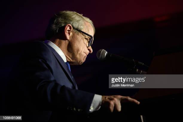 Republican Gubernatorial-elect Ohio Attorney General Mike DeWine gives his victory speech after winning the Ohio gubernatorial race at the Ohio...