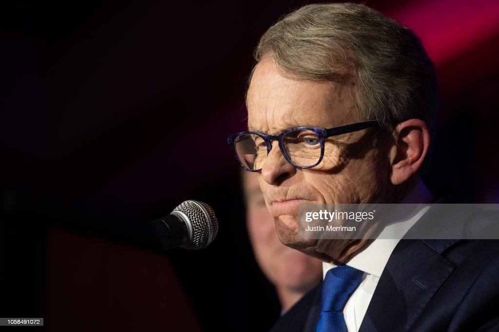 Ohio GOP Gubernatorial Candidate Mike DeWine Attends Election Night In Columbus : News Photo