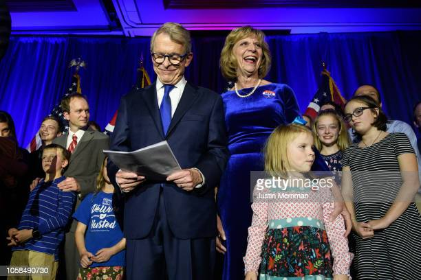 Republican Gubernatorialelect Ohio Attorney General Mike DeWine takes the stage after he was declared winner in the Ohio gubernatorial race at the...