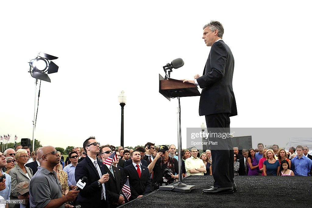 Republican Jon Huntsman speaks during a press conference to announce his bid for the presidency at Liberty State Park June 21, 2011 in Jersey City, New Jersey. Huntsman, until recently the U.S. ambassador to China under President Obama, emphasized his record as a two-term governor of Utah.