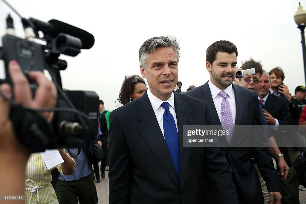 Republican Jon Huntsman walks off stage after announcing his bid for the presidency at Liberty State Park June 21, 2011 in Jersey City, New Jersey. Huntsman, until recently the U.S. ambassador to China under President Obama, emphasized his record as a two-term governor of Utah.