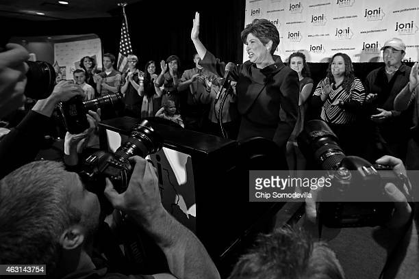 Republican Joni Ernst thanks her supporters after she won the US Senate race on election night at the Marriott Hotel November 4 2014 in West Des...