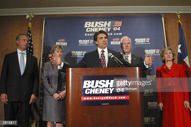 Republican leaders announce the creation of the BushCheney '04 Leadership Team to direct the Bush Presidential campaign for 2004 December 16 2003 in...