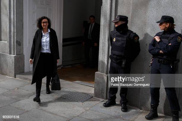 Republican Left of Catalonia general secretary Marta Rovira leaves the Supreme Court after the judge decided to release her on bail for 60000 euros...
