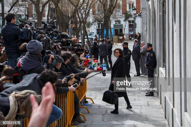 Republican Left of Catalonia general secretary Marta Rovira speaks to the press as she leaves the Supreme Court after the judge decided to release...