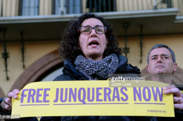 Republican Left of Catalonia secretary general Marta Rovira attends a demonstration to protest against the 100 days of prison of Catalonia's jailed...