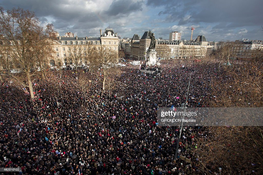 Republican march in Paris January 11, 2015 following the attacks against Charlie Hebdo and the kosher store. in Paris 2 million people marched peacefully waving signs I'm Charlie, Place de la Republique;