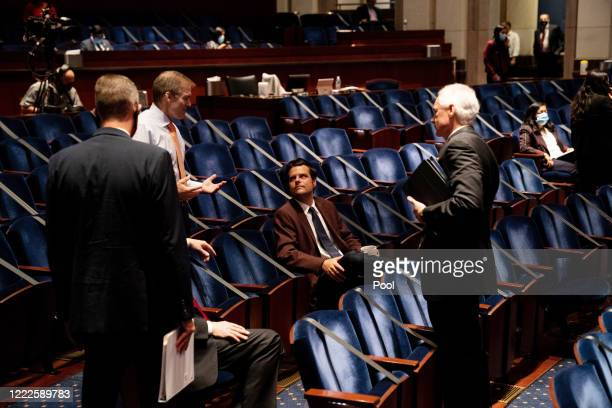 Republican members confer before a hearing of the US House Judiciary Committee on June 24 2020 in Washington DC Democrats are highlighting what they...
