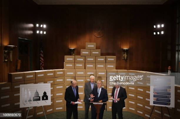 Republican members of the Senate Judiciary Committee Chairman Charles Grassley Sen Orrin Hatch Sen Thom Tillis and Sen Mike Lee stand in front of a...