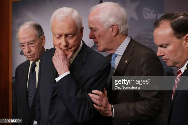 Republican members of the Senate Judiciary Committee Chairman Charles Grassley Sen Orrin Hatch Sen John Cornyn and Sen Mike Lee hold a news...