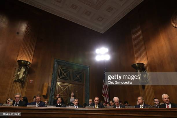 Republican members of the Senate Judiciary Committee listen to Democratic senators speak during a committee meeting on September 28 2018 in...