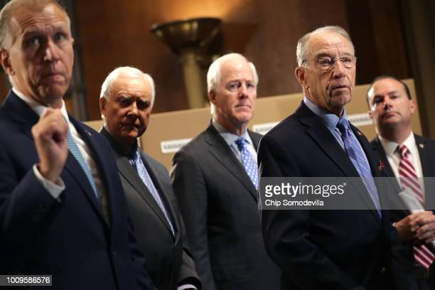 Republican members of the Senate Judiciary Committee Sen Thom Tillis Sen Orrin Hatch Sen John Cornyn Chairman Charles Grassley and Sen Mike Lee hold...