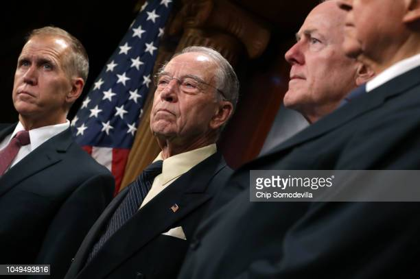Republican members of the Senate Judiciary Committee Sen Thom Tillis Chairman Charles Grassley Sen John Cornyn and Sen Orrin Hatch hold a news...