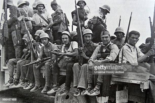 Republican militia on the move towards a battle front in Spain during the Spanish Civil War
