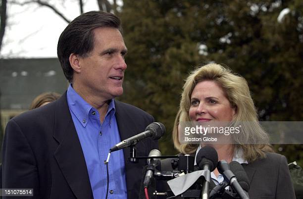 Republican Mitt Romney, in the company of his wife, Ann Romney, announces his candidacy for Governor of Massachusetts from the driveway of his home...