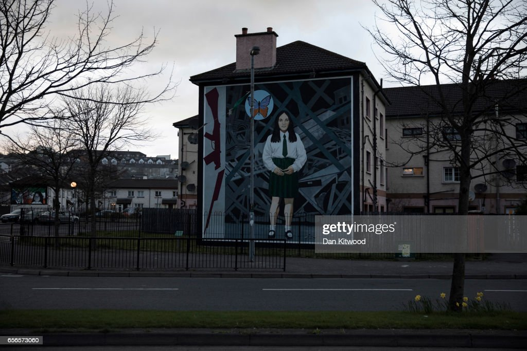 A republican mural at Free Derry Corner, close to the home of the late Martin McGuinness on March 22, 2017 in Londonderry, Northern Ireland. Northern Ireland's Former Deputy First Minister Martin McGuinness died overnight on Monday 20th March 2017. He was once chief of staff of the IRA and became Sinn Fein's chief negotiator in the talks that led to the Good Friday agreement bringing peace to Northern Ireland.