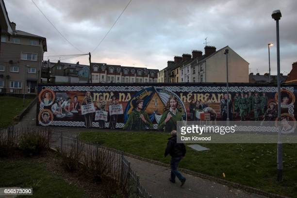 A republican mural close to the home of the late Martin McGuinness on March 22 2017 in Belfast Northern Ireland Northern Ireland's Former Deputy...