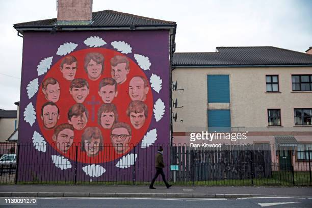 Republican mural in memory of those killed in the Bloody Sunday massacre close to the home of the late Martin McGuinness on March 22 2017 in...