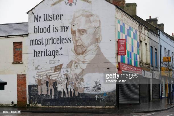 Republican mural painting in Belfast on November 22 2014 in Belfast Northern Ireland
