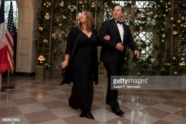 Republican National Committee Chair Ronna McDaniel and her husband Patrick arrive at the White House for a state dinner April 24 2018 in Washington...
