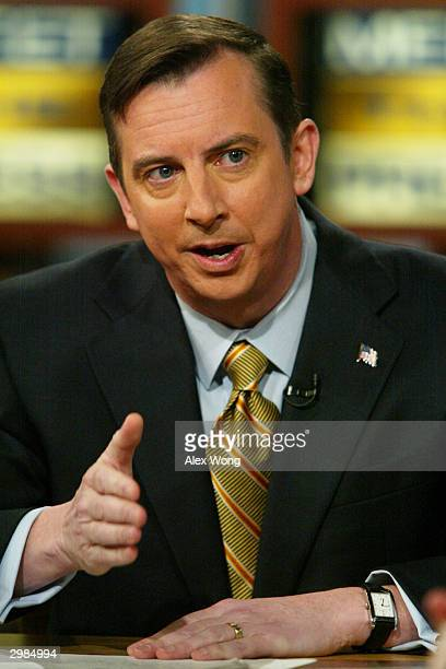 Republican National Committee Chairman Ed Gillespie makes a point as he speaks on NBC's 'Meet the Press' during a taping February 15 2004 at the NBC...