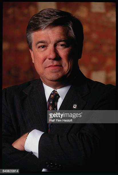 Republican National Committee Chairman Haley Barbour poses with folded arms Barbour was in Sandiego to attends the 1996 Republican National Convention